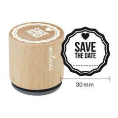 Houten handstempel Woodies Save the Date blanc